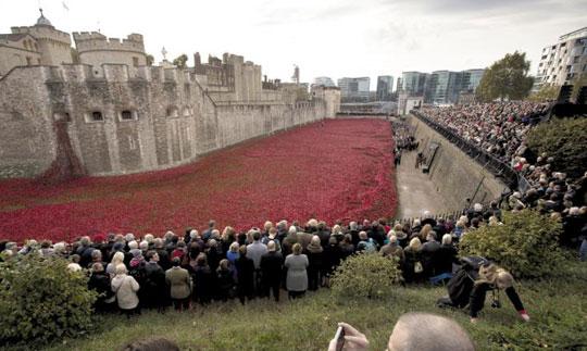 영국에서는 매년 1차 세계대전 희생자들을 기리기 위해 양귀비로 만든 기념물이 세워져요. 작년에는 런던탑 주변에 사망한 군인들을 상징하는'땅을 휩쓴 피와 붉은 바다'작품이 설치되었어요.