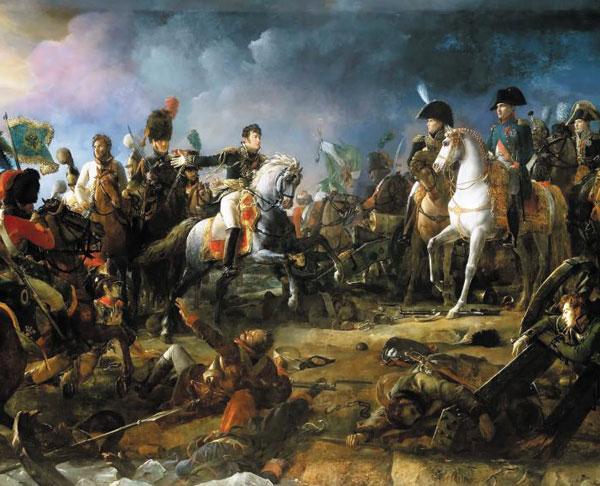 나폴레옹(가운데 백마 탄 사람)이 전쟁터에서 말을 타고 달리고 있어요.