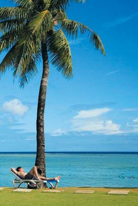 아름다운 서태평양의 섬 괌의 해변가.