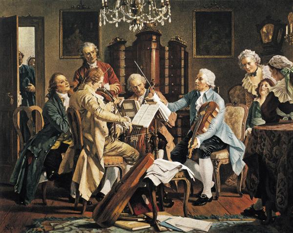 현악 4중주곡을 지휘하는 하이든(가운데 지휘봉을 든 인물)을 그린 19세기 그림이에요.