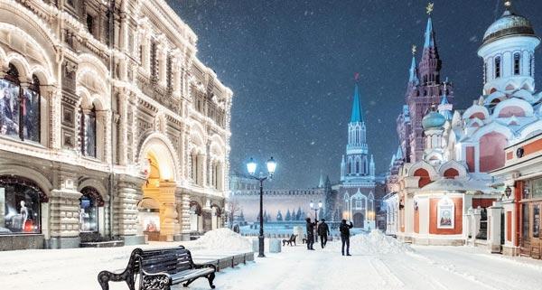 러시아 모스크바의 눈 내리는 풍경.