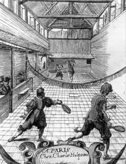 17세기 테니스 경기 모습을 그린 그림이에요.