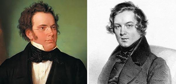 프란츠 슈베르트(왼쪽), 로베르트 슈만.