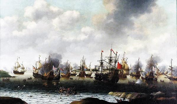 제2차 영란전쟁 때 네덜란드 로이테르 제독이 영국 전함 13척을 불태운 '메드웨이 기습'을 그린 그림이에요. 그 후 양국은 화해 조약을 맺지만 몇 년 뒤 3차 전쟁이 벌어집니다.