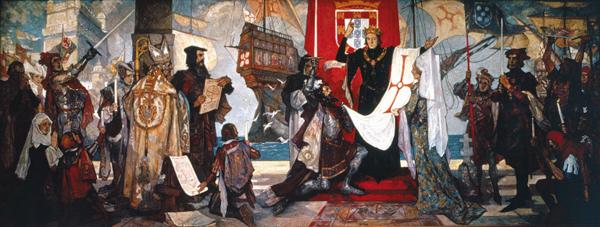 1497년 바스쿠 다가마가 항해를 떠나기 전, 포르투갈 왕 마누엘 1세에게 인사를 올리고 있는 모습을 그린 그림이에요.