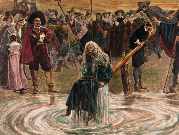 16~17세기 유럽에서는 수만 명이 마녀로 몰려 목숨을 잃었어요. 위 그림은 당시 마녀 판별법 중 하나인 '물의 시험'입니다. 악마와 계약한 마녀는 몸이 물 위로 뜬다는 주장이었습니다. 사람 몸은 원래 물에 뜨는데 말이에요.