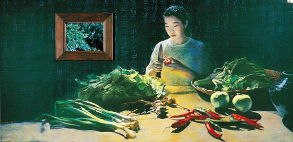 작품3 - 김명희 '김치 담그는 날' 2000, 칠판에 오일파스텔, LCD모니터.