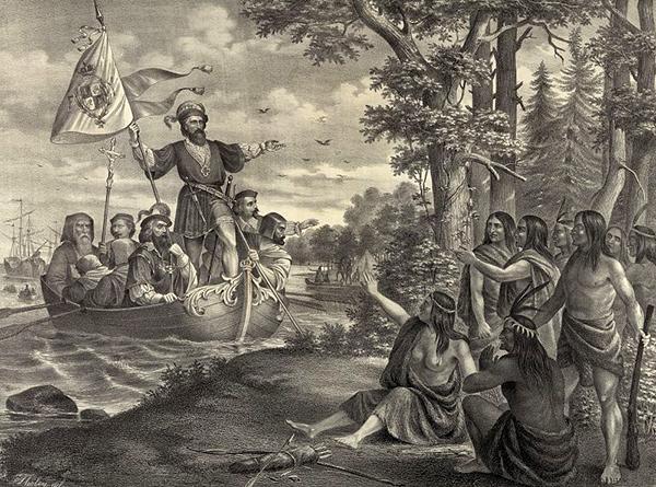 1492년 아메리카 대륙에 도착한 탐험가 크리스토퍼 콜럼버스 일행과 아메리카 원주민 간 첫 만남을 묘사한 그림이에요. 아메리카 대륙이 원산지인 옥수수는 스페인을 비롯한 유럽 사람들에게 매우 생소한 음식이었지만, 옥수수의 높은 생산성을 주목한 베네치아 상인들에 의해 전 유럽으로 퍼져나갔어요.