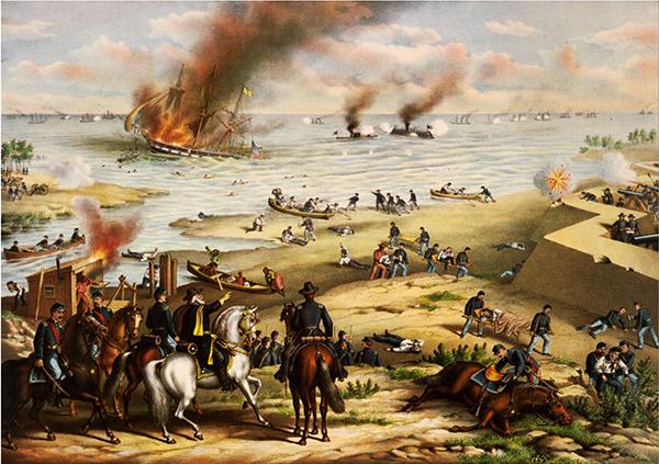 1862년 3월 미국 남북전쟁 때 버지니아의 햄프턴로즈에서 벌어진 북부 모니터호와 남부 메리맥호의 전투입니다. 역사상 최초의 장갑함 해전으로 유명해요. /위키피디아