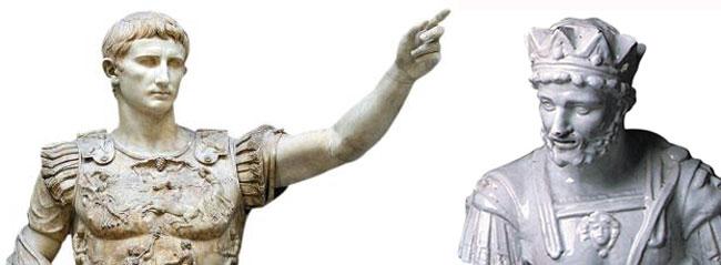 옥타비아누스 동상(왼쪽), 안토니우스 동상