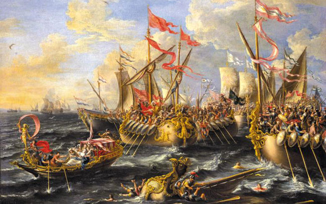 옥타비아누스와 안토니우스가 결전을 벌인'악티움 해전'을 묘사한 그림이에요. /위키피디아