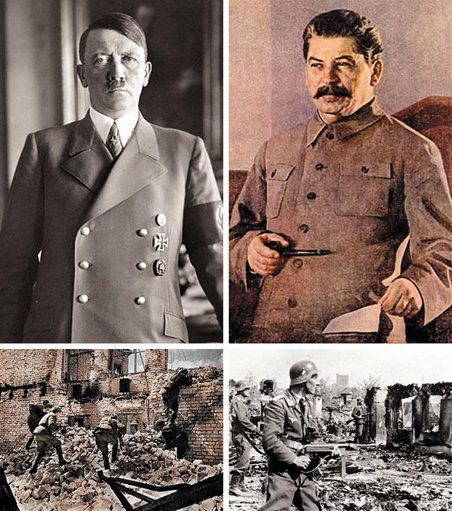 2차 세계대전 중 벌어진 스탈린그라드 전투는 독일의 아돌프 히틀러(위 왼쪽)와 소련의 이오시프 스탈린(위 오른쪽)이 맞붙은 전투예요. 전투를 벌이고 있는 소련군(아래 왼쪽 사진)과 독일군(아래 오른쪽 사진)의 모습. /위키피디아